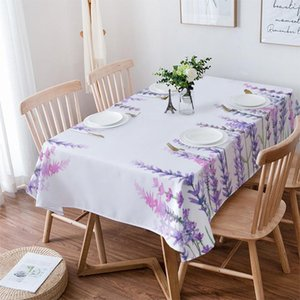 Table Cloth Plant Purple Lavender Watercolor Flower Wedding Waterproof Oilproof Dining Cover Kitchen Home Decor Tablecloth