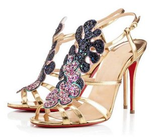 Summer Lady Sandals High Heels (Red Soles) Luxurious Brand Design Red Bottom Renee Black Genuine Leather With Glitter Strass Party Wedding