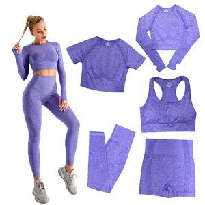 Seamless Fashion Womens Yoga Suit Gymshark same style yogaworld Tracksuit Fitness Sports 5PCS bra Leggings outfits solid lU Align Leggings