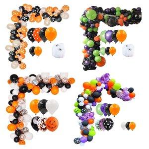 100 pcs Série Abóbora Ghost Arch Balões de Aranha Crianças Brinquedo Bat Globos Air Bolas para Decoração de Festa de Halloween Y201006