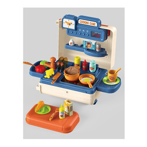 4-in-1 Tableware trolley toy sets pretend play toys kitchen cooking toy trolley case cooking game kitchen set toys spray with light sound