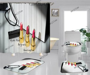 클래식 프린트 홈 샤워 커튼 세트 패션 스타일 홈 욕실 4pcs 정장 방수 미끄럼 방지 화장실 매트