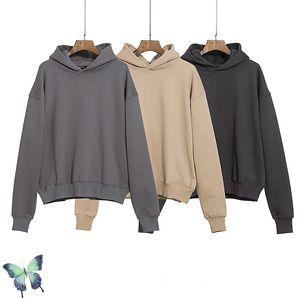 New Kanye 2021 100%cotton Hoodie Men Women Quality Sweatshirt Season 6 Solid Color High Street Washed Hoodies V330 ZHXN