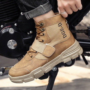 AGUTZM High Quality Fashion Winter Mens Boots Warm Locomotive Boots Lace Up Mens Desert Round Toe High Top Shoes A384 W1xZ#