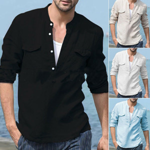 Fashion Men Casual Linen Long Mouwen Solid Shirts Luxury Stylish Slim Fit Shirt Soft Tops Uk