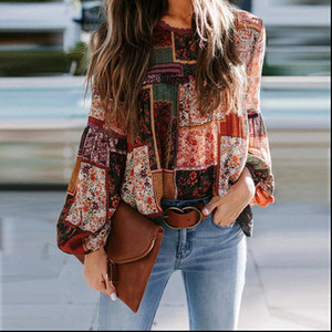 Bohemian Floral Print Blouse Womens Fashion O Neck Puff Long Sleeve Blouse Shirt Office Lady Loose Plus Size Blusas Tops XXL