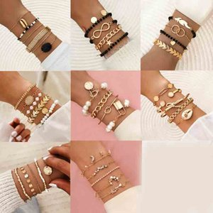 2021 Fashion Gold Color Beads Pearl Star Multilayer Beaded Bracelets Set for Women Charm Party Jewelry Gift
