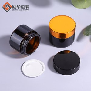 Clear Eye Cream Jar Bottle 20g 30g 50g Empty Glass Lip Balm Container Wide Mouth Cosmetic Sample Jars with Black Cap