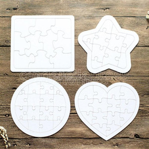 Paper Colouring Picture Puzzles Sublimation Blank DIY White Kids Game Gift Jigsaws Children Painting Round Square Toy 5 Types Favor