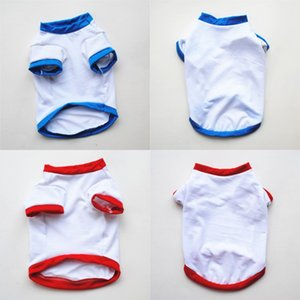 Sublimation Blanks Solid White T Shirts 2 Colour Red Blue Pet Supplies Clothing Puppy Small Dog Apparel Spring Summer Unisex 3 5ye G2