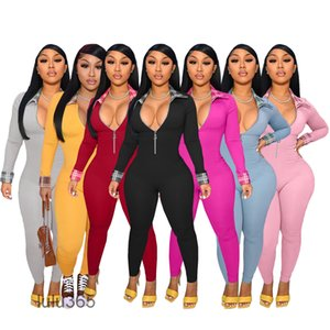 2021 Spring And Autumn sexy Women's solid color Zipper Lapel Shirt Jumpsuit Casual Fashion Jumpsuits & Rompers 7 colors lulu365