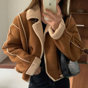 Korean chic autumn and winter temperament Lapel double breasted imitation lamb fur one short motorcycle jacket for women