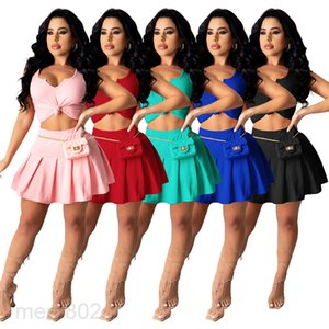 5 colors Hot selling women's summer new fashion V-neck casual Solid color Short skirt two-piece sets sleeveless Pleated skirt suit