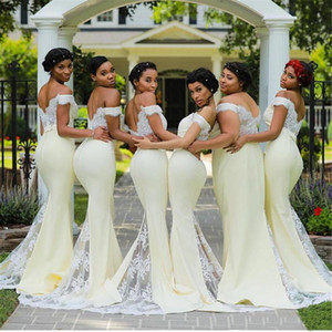 Light Yellow Bridesmaid Dresses Mermaid Chiffon 2021 Lace Applique Elegant Off the Shoulder Custom Made Maid of Honor Gown Wedding Party
