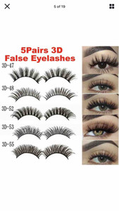 Europe and the United States hot sale 3D47-3D55 EYELASHES OF 5 Pairs 3D Fake Eyelashes Long Thick Natural False Eye Lashes Set Mink Makeupc