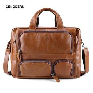 """Briefcases GENODERN Genuine Leather Men's Briefcase Laptop 17"""" Business Bag Men Shoulder Large Capacity Travel Messenger"""