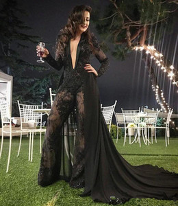 Sexy Deep V Neck Jumpsuit Evening Dresses with Detachable Train Lace Appliqued Beaded Black Formal Party Gowns Prom Dress Pants Suits