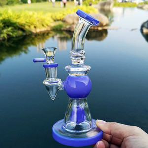Green Purple Pyramid Design Heady Glass Bongs Showerhead Perc Percolator Water Pipes Short Nect Mouthpiece Oil Dab Rigs 14mm Joint Hookahs