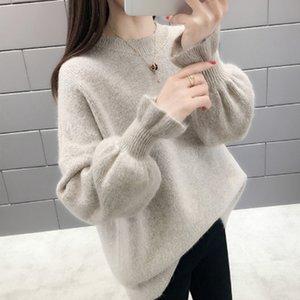 Qrwr осень зима корейских женщин свитер повседневная o шеи сплошной вязаный пуловер свободный всплеск flare рукава элегантные свитера женщины 210218