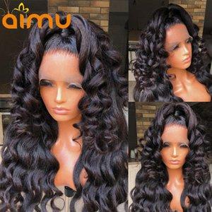레이스 가발 바디 웨이브 13x6 정면 인간의 머리 가발 흑인 여성용 야키 스트레이트 전체 250 밀도 브라질 자연 pre 뽑아