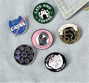 القطط نادي المينا دبوس كوكب كوكب القمر مقهى باو شارة مخصص هريرة دبابيس التلبيب دبوس جينز قميص حقيبة لطيف الحيوان مجوهرات هدية