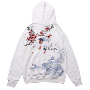 Harajuku estilo chino bordado flores paisaje impresión sudaderas sudaderas sudaderas Streetwear Hip Hop Casual Sweat Shirts