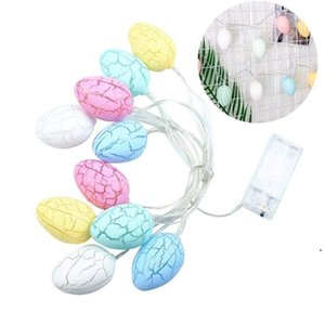 Colored Eggs Light Cracked Decorative Pattern No Battery LED Lamp String Plastic Coloured Lights Rabbit Bunny Hanging Egg Easter DHA4003