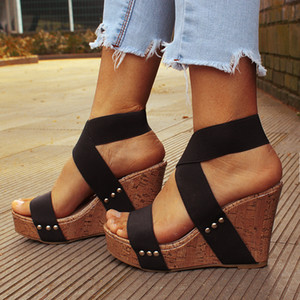 Women Sandals Platform Sandals High Heels Shoes Elastic Strap Gladiator Sandalia Feminina Summer Wedge Heel Sandalias Mujer 2021 J2023