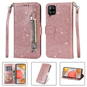 Multifunction Bling Glitter Leather Wallet Case For Samsung S21 Ultra S21 Plus A42 A12 5G Shinny Sparkle Zipper Flip Cover Holder Pouch