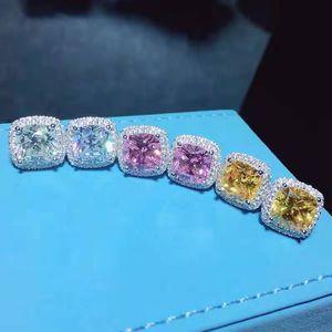 Trendy 2CT Lab Pink Diamond Stud Pendiente Real 925 Sterling Silver Jewelry Compromiso Pendientes de boda para mujeres de mujer Regalo de fiesta 227 W2