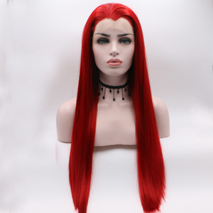 Fantasy Beauty Hot Red Lace Front Wigs For Women Long Straight Fashionable Glueless Synthetic Wigs With Widow's Peak Wig