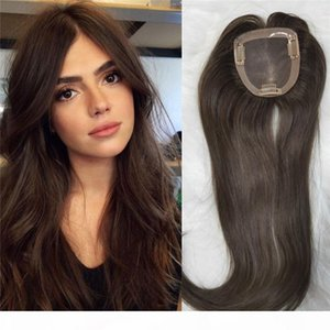 100% Virgin European Human Hair Topper #2 Dark Brwon color 10x11cm Mono Base Toupee for Women Slik Straight Clip in Topper