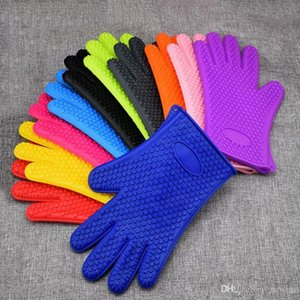 Gloves Silicone Microwave Oven Thickened Heat Insulation Gloves Kitchen Cooking Cake Making Tools insulated Glove Cleaning Gloves WY387Q