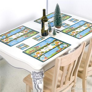 43x28 CM Easter Placemats Coasters Non-slip Table Mats Vintage Bunny Colored Egg Floral Dining Mat Table Decoration JK2002