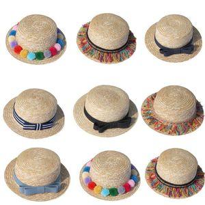 Sombrero de paja con cinta de flores para padres e hijos, gorra floral para el sol, tejido Panamá, novedad verano