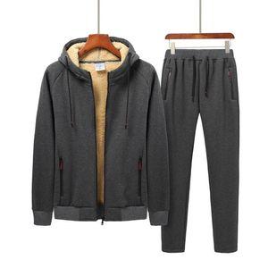 2 Piece Men Winter Fleece Sets Mens Thick Hoodies+Pants Suit Man Hooded Sweatshirt Sportswear Suits Male Hoodie Sweatsuits 8XL