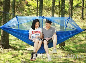 Parachute Hammock Outdoor Mosquito Net Hammocks 2 Persons Hanging Bed Camping Hunting Hamac Garden Swings 12 Colors OptionalLQPYW1008