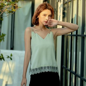 Spring and summer silk surface suspender vest women's fashion versatile slim V-neck bottomed top sexy lace blouse 1035