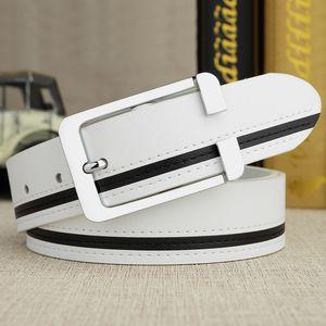 Men's White Korean Stitching Fashion Leather Formal Pin Buckle Belt