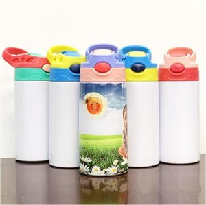 STRAIGHT Sippy Cups Sublimation Kids Mugs Stainless Steel Water Bottles Double Insulated Vacuum Portable Drinking Milk Tumblers 12oz ZYY716