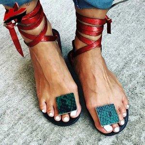 Nan Jiu Mountain Nude Straps Rome Sandalias Sandalias planas de las mujeres 2019 zapatos para mujer de lace de verano Talla grande 34 43 Sandalias para mujer Knee High 80VL #