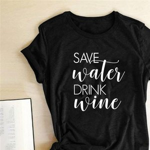 Save Wales Drink Wine Print T shirts Women Summer 2021 Harajuku Clothes Shirts for Women Loose Crew Neck Ladies Tops for Teeens