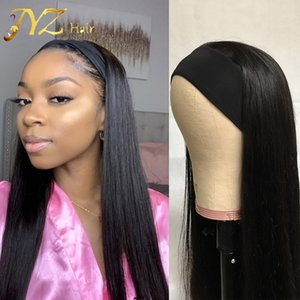 Straight Headband Wig Human Hair Brazilian Machine Made Human Hair natural long Wigs Glueless Natural Color