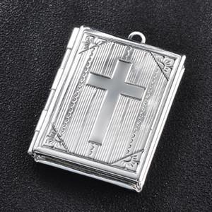 30pcs / lot Bible livre Christian Photo Cadre Charms Charms Croix Photo Box Pendentif pour la fabrication de bijoux DIY peut ouvrir C0225