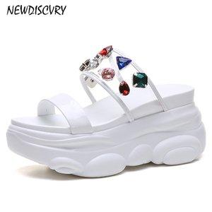 Newdiscvry Rhinestone ПВХ Женщины Платформа Тапочки Летние Женщины Коренастые слайды Женщина Мода Ldies Shoes Y200423