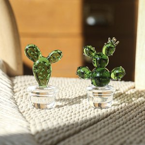 Home cactus tabletop decoration glass living room trinkets home decoration European micro landscape decoration glass cactus bonsai