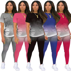 Designer 2 piece sets Summer clothing Women outfits jogging suit Casual Tracksuits short sleeve T-shirt Leggings plus size sportswear 4506