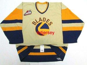 Cuchillas de encargo de Saskatoon Pedido WHL Jersey de hockey Añada Cualquier número Número Mens Kids Jersey XS-5XL