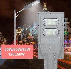Solar Street Light 120LM / W 30W 60W 90W IP65 водонепроницаемый PIR-датчик движения встроенный солнечный уличный световой столб и пульт дистанционного управления