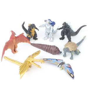 New 8Pcs Mechagodzilla Gigan Anguirus Action Figure PVC Gift Toys Simulation dinosaur kids toys Ornaments Child gift 199 Y0726